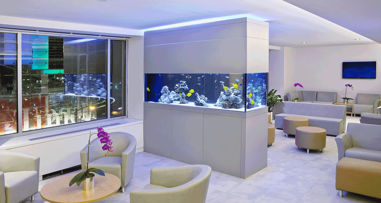 Interior of New Hope Fertility Center, with views onto the Time Warner  Center logo. 4 Columbus Circle, New York.