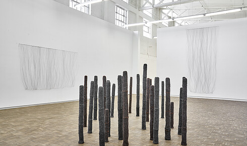 "67b6626da6d Installed in the main gallery of her phonetically engaged exhibition ""/ //  ! ǂ"" at Blank Projects are two dozen slender columns made of steel wool and  ..."