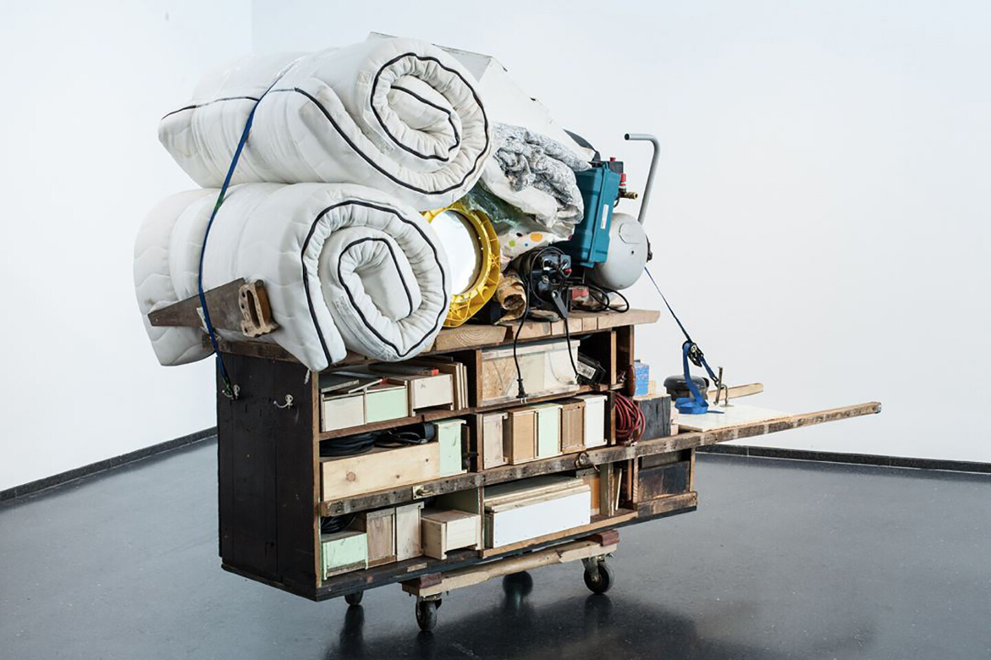Theater Gates, Migration Rickshaw for Sleeping, Playing, and Building,  2013. Wood, fabric, metal, plastic, Huguenot House remnants, 68 x 104 x 46  inches.