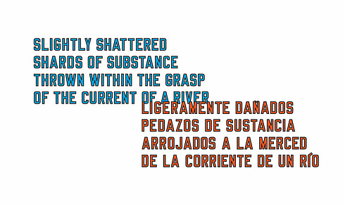 "863e5d68c05b0 ... a la merced de la corriente de un río""  you read Lawrence Weiner s  writing in English and Spanish splattered across a wall as the flow of  humans drags ."